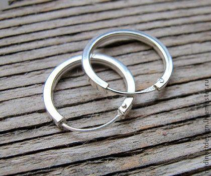Серебряные серёжки. Стильные серьги-кольца 15 мм в стиле унисекс.