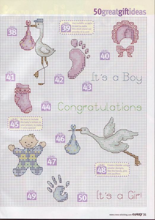 Cross-stitch Baby Things... no color chart available, just use pattern chart as your color guide