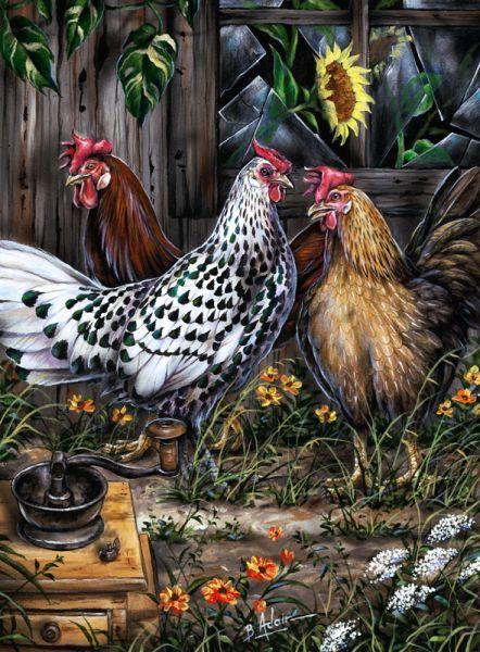Coffee Clutch Chickens By Bill Adair Kitchen Decor