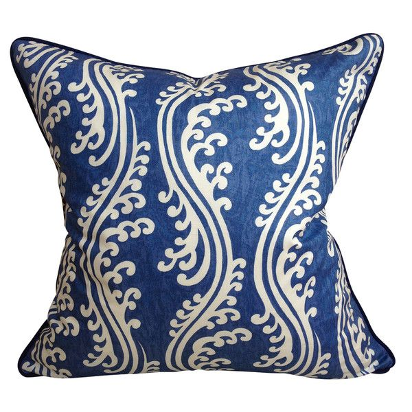 Navy & Ivory Waves Chintz Cushion