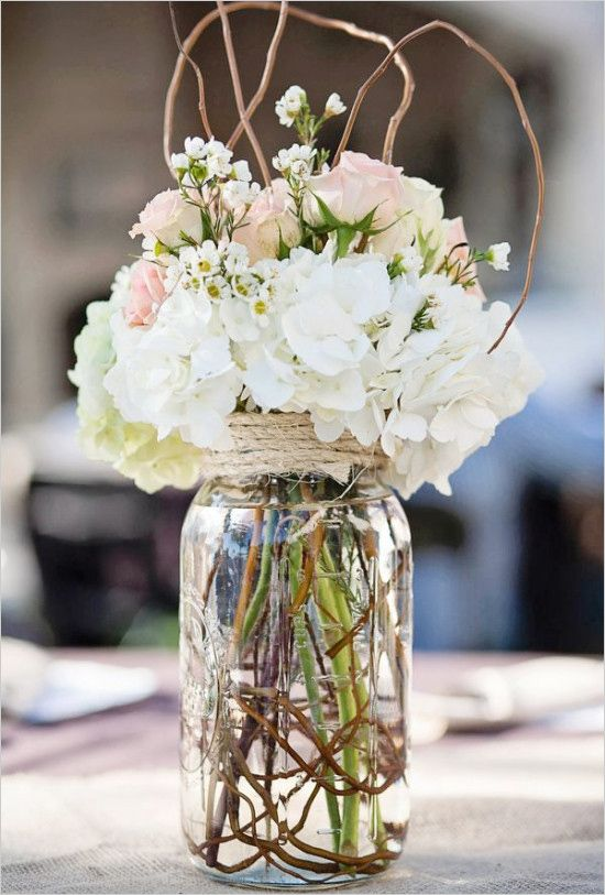 Hydrangea and rose arrangement for ceremony or reception. #weddingchicks Captured By: Caitlin Skinner Photography http://www.weddingchicks.com/2014/06/17/diy-videos/