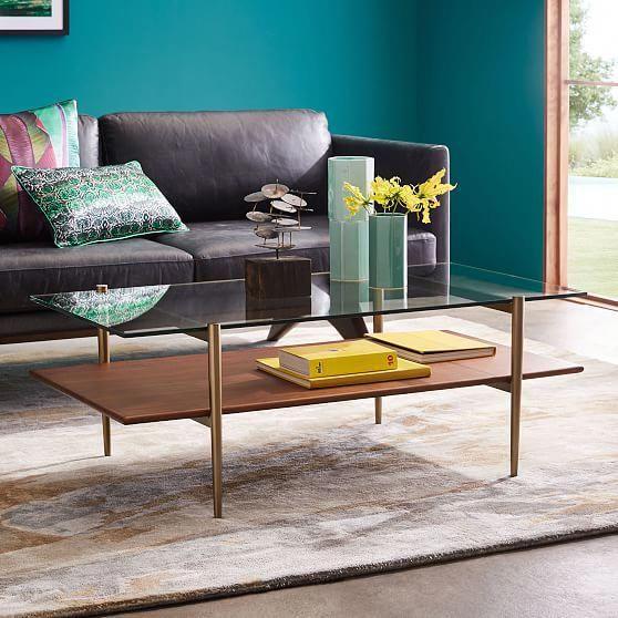 Mid-Century Art Display Coffee Table - Walnut En 2019