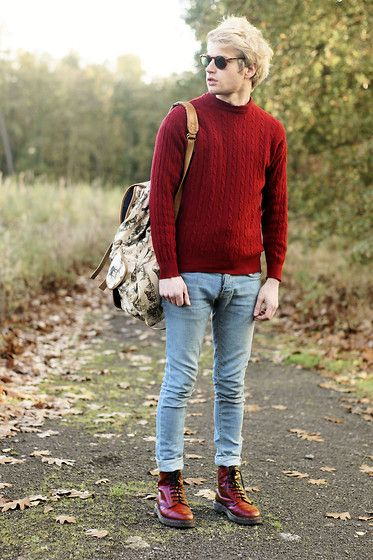 A Sweater I Stole, Dr. Martens Red Dr Martens, Topman Blue Jeans