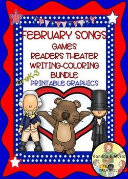 FEBRUARY HOLIDAY SONGS  READERS THEATER, WRITING,COLORING Sheets, PRINTABLES and GAMES Bundle has you covered for your literacy and poetry centers and Daily 5 activities for February.   I AM PRICING THIS AT $4.00 for the first few days...thereafter it will go to $5.00 as it has 60 pages of great material.  17 Songs are for Presidents Day, Groundhog Day and Valentine's Day.
