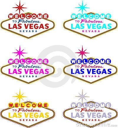 Vector image of Welcome To Las Vegas sign in different colors