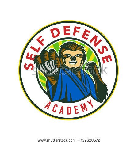 Badge icon style illustration of a sloth in karate stance fighting punching viewed from front set inside circle with words Self Defense Academy on isolated background.  #selfdefense #icon #illustration