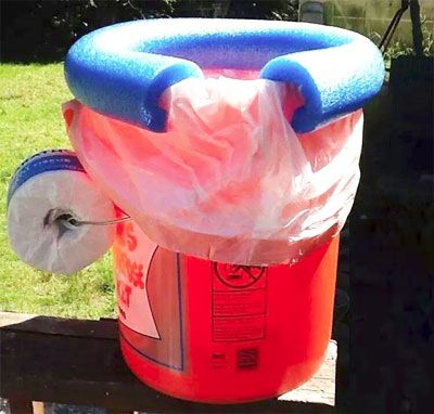 emergency or camping toilet - pool noodle seat on bucket clamps on disposable bag