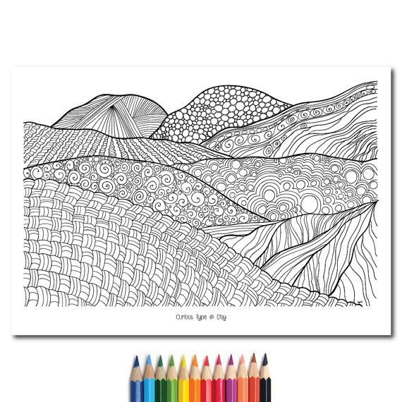 Landscape Colouring PageZentangle Inspired Fully by CuriousType
