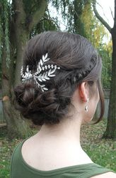 #Bridal and  #bridesmaid #hairstyles by Allene Chomyn Hair Design. Low pinned #curls with #braid accent and hair #accessory.