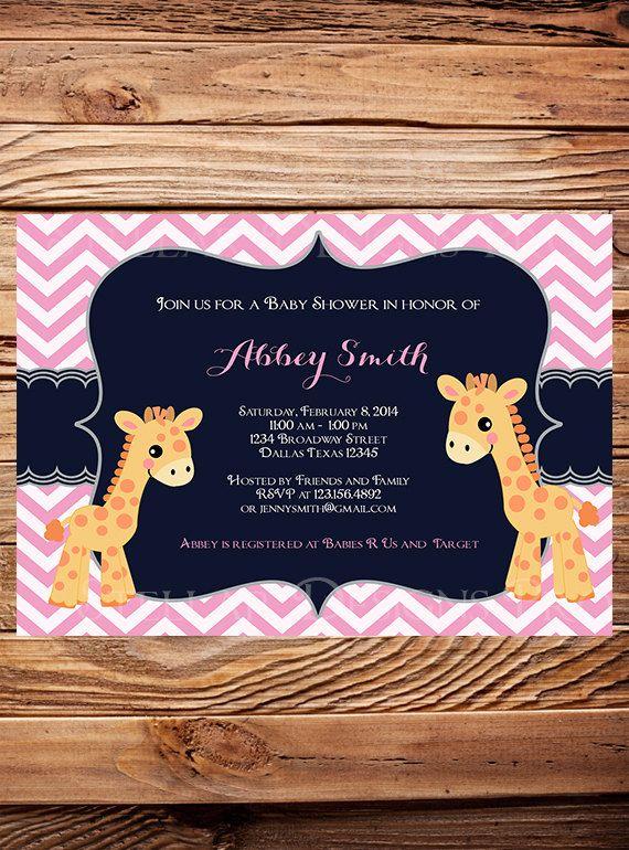 Baby girl shower invitation. Chevron print. Giraffe theme.