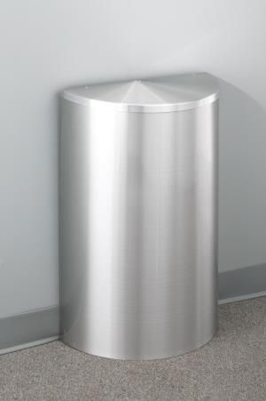glaro 10 gallon half round trash can with hinged lid trash containers - Commercial Trash Cans