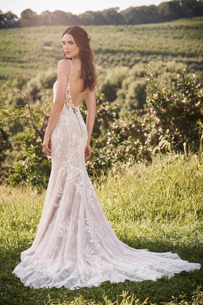 Beaded Lace Fit And Flare Wedding Gown By Lillian West In 2020 Lillian West Wedding Dress Wedding Dress Low Back Wedding Dresses