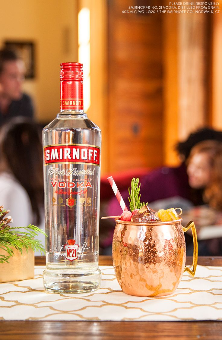 This easy drink combines ginger beer deliciousness to help you celebrate no matter where you are. EasyDrink MoscowMule Just mix 1.5 oz Smirnoff Vodka, 3 oz Ginger Beer, and add Orange and Cranberries for garnish.