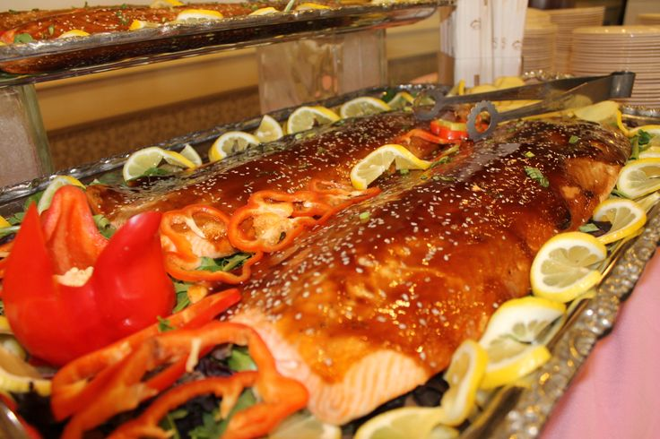 Salmon from the carving station food arrangements