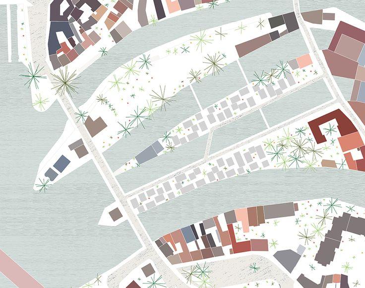 plan. sert à comprendre les différents quartiers, lieux, espaces, d'une ville. couleurs pastels, formes géométriques pour représenter les bâtiments, sortes d'étoiles vertes représentant les végétaux, aplat bleu pour représenter l'eau. dessin qui fait penser à une illustration pour enfants. on pourrait s'en servir dans l'édition pour enfant ou bien pour un plan d'une ville.