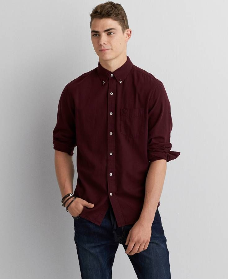 aeo solid button down shirt young man and hipsters