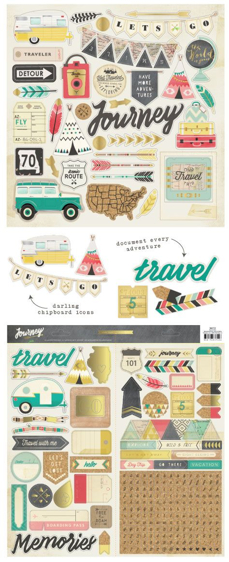 Crate Paper Journey Chipboard & Stickers