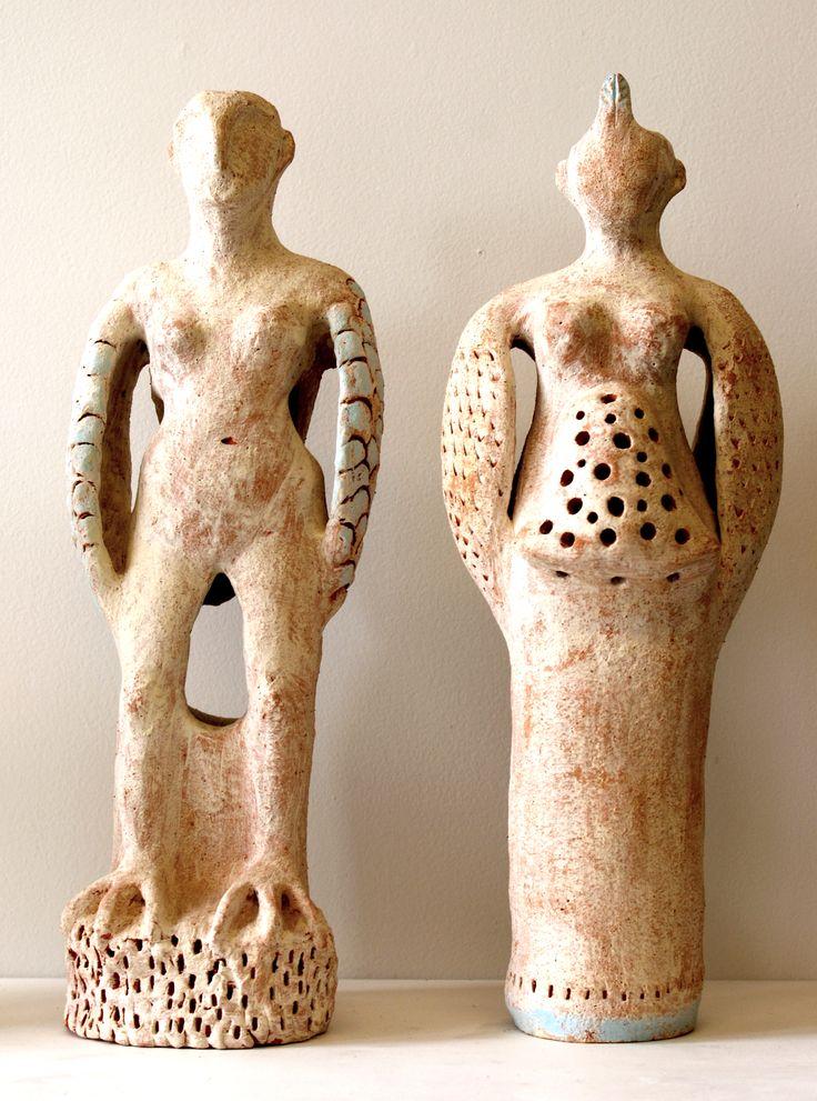 Sarah Guppy - Birdman and Birdwoman (hand built ceramic)