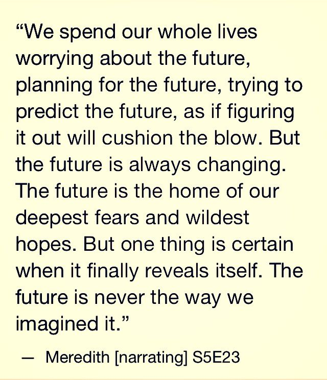 We spend our whole lives worrying about the future planning for the future as if figuring it out will cushion the blow, meredith, Greys Anatomy