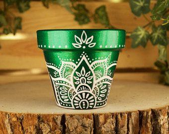"3"" Succulent Planter, Flower Pot, Hand painted Green Ombre Bohemian Pot, cactus planter, hippie pot, lotus design, Jewel toned, Henna"