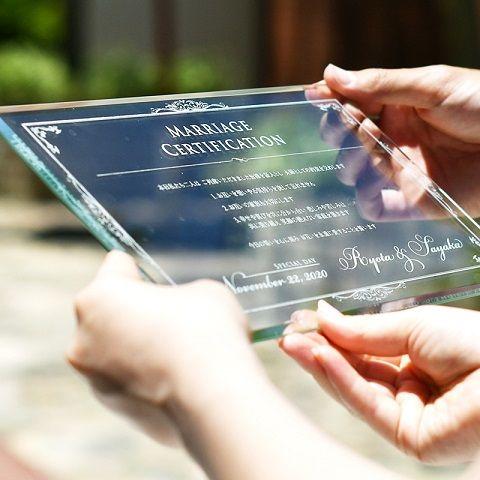 \一生の宝物/ガラス結婚証明書「ヴェール」 http://www.farbeco.jp/marriage-certificate.html