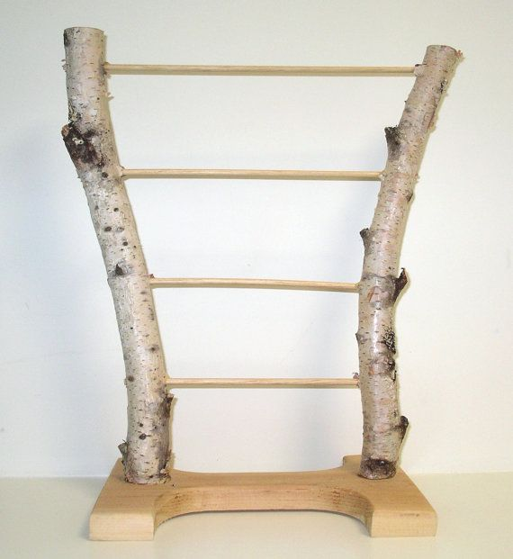Natural handmade birch bark jewelry display stand by gemstoneart