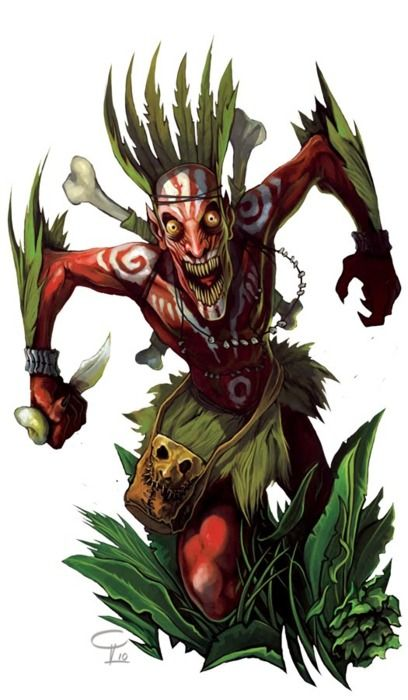 Eloko (pl, Biloko) is a term in a Mongo-Nkundo language referring to a kind of dwarf-like creature that lives in the forests. They are believed to be the spirits of ancestors of the people living there. Legend has it that they haunt the forest because they have some grudge to settle with the living and are generally quite vicious. Biloko live in the densest and darkest part of the rain forest in central Zaire, jealously and ferociously guarding their treasures: the game and the rare fruits…