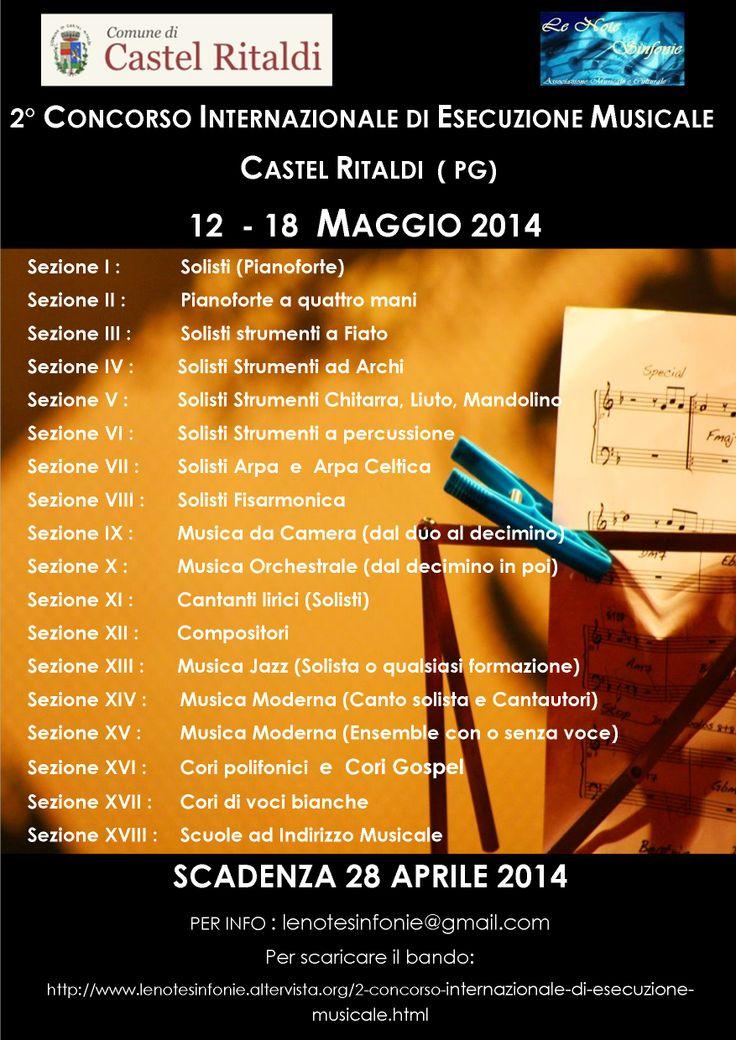 LOCANDINA 2° CONCORSO INTERNAZIONALE DI ESECUZIONE MUSICALE 12-18 MAGGIO 2014 CASTEL RITALDI (PG)