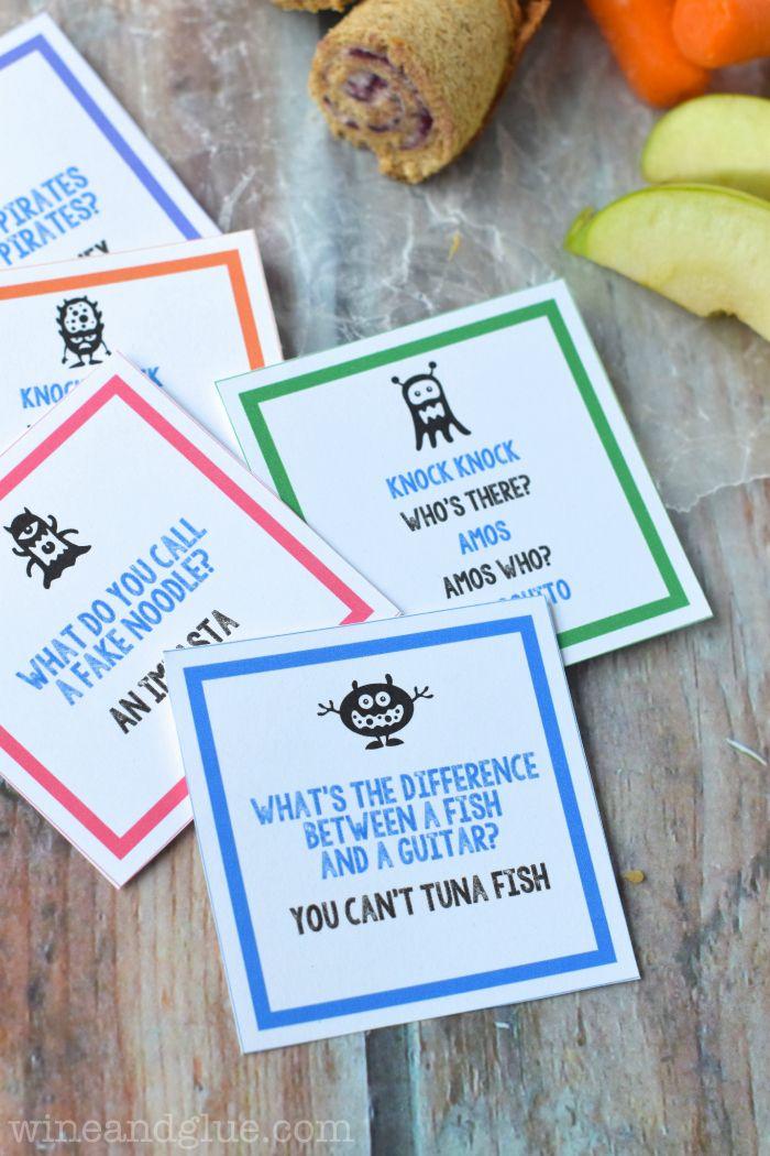 Free Printable Lunch Box Jokes // Imprimibles de chistes para poner en la comida