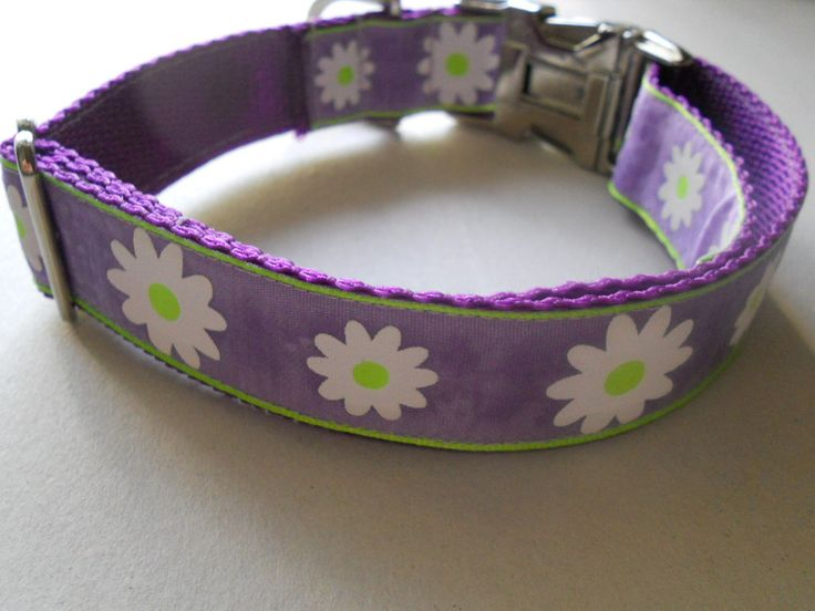 Daisy Dog Collar - White Daisies on Light Purple Ribbon - Puppy collar by FourPawsJewelry on Etsy