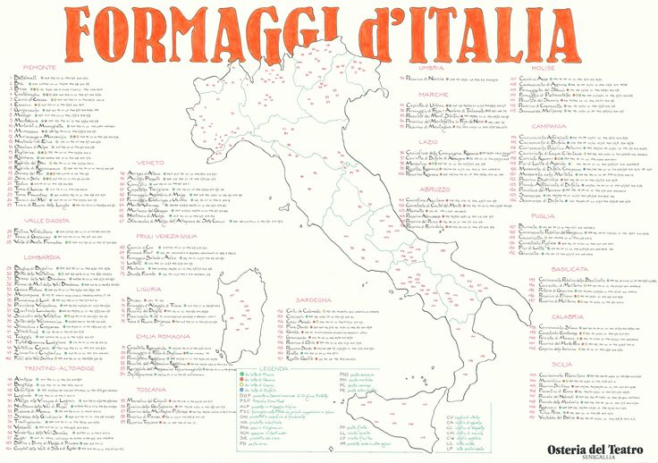 Hand-drawn map of italian cheeses