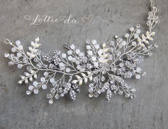 This unique boho wire hair vine available in antique silver, silver gold or antique gold is a lovely finishing touch for the boho chic bride. A mix of metal leaves, opal beads, off-white pearls and clear crystals create a textured botanical design. Measures approx. 7 x 2 5/8 (17.3cm x 7cm).  WAYS TO WEAR: - Worn as a headband with ribbon ties (color options available at checkout) - Placed in the back using bobby pins (bobby pins not included)  5 COLORS AVAILABLE: (see last photo) 1. SILVER…