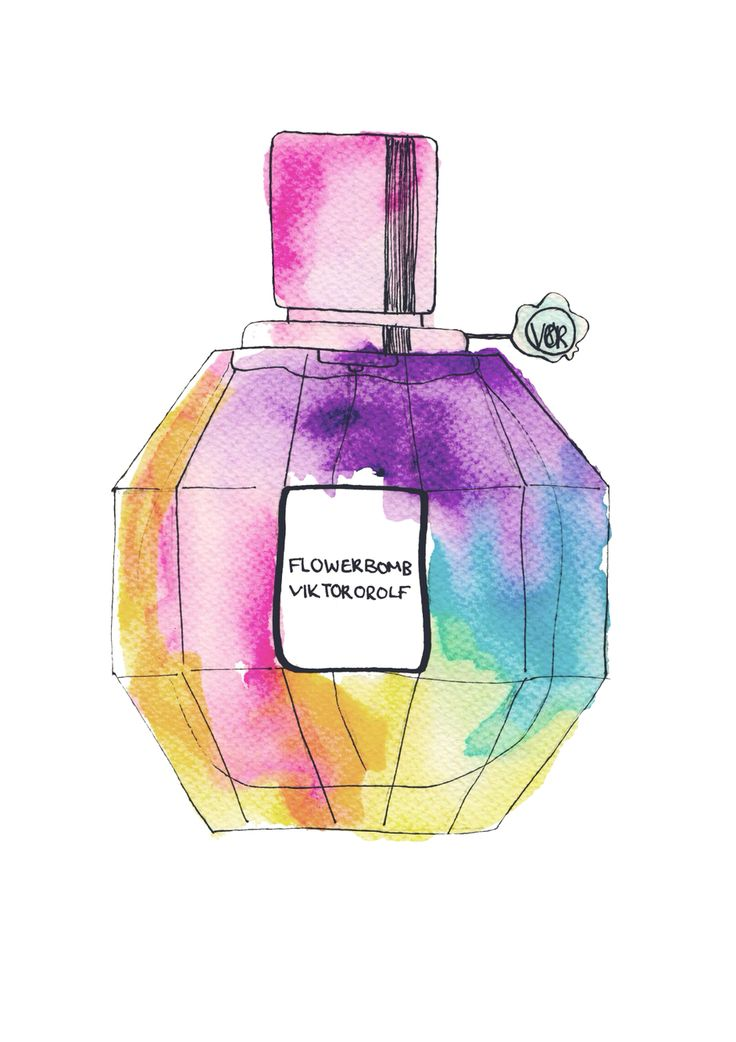 Flowerbomb perfume bottle Watercolour Series Print available from http://jadecrumps.bigcartel.com