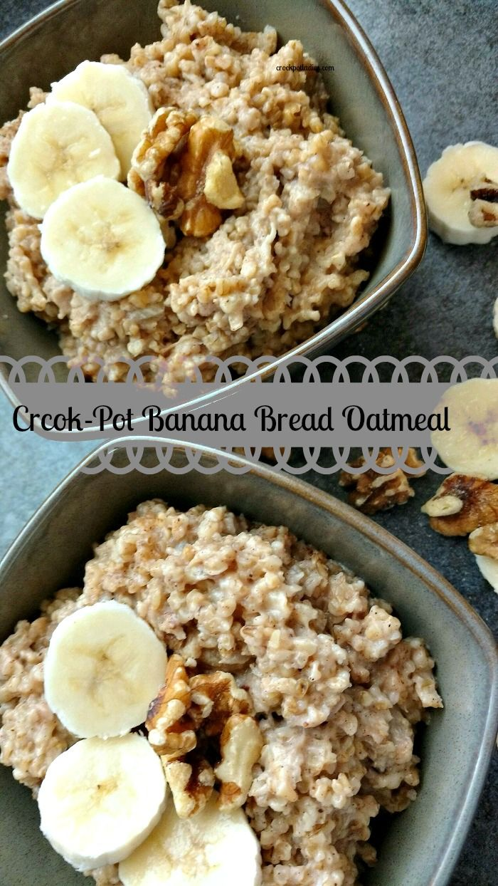 Warm up to a hearty and delicious bowl of hot Crock-Pot Banana Bread Oatmeal. The perfect breakfast for a cold morning!