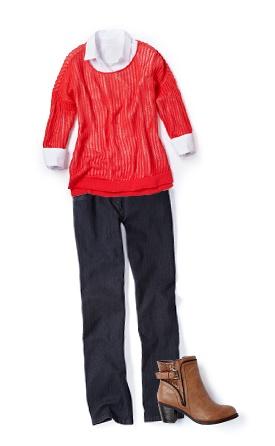 Layer on the warmth with a long sleeve blouse under your open stitch sweater / Restez au chaud en combinant le tricot à mailles fines avec un chemisier à manches longues #reitmans #openstitchsweater #tricotamaillefine