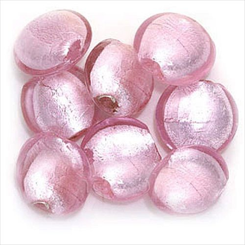 MURANO STYLE GLASS ROUND DISC PENDANT BEADS PINK LG 8 from beadaholique.com