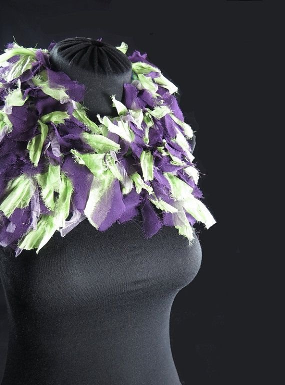 Designer's knitted choker scarf, pure wool, frayed silk ribbons, tulle, purple and anise green, hand-made by kalani