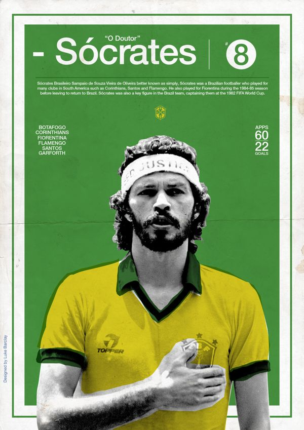Football Posters by Luke Barclay, via Behance Soccer! Look at that pure joy! www.brasilcopamundotowel.com soccer a beautiful game