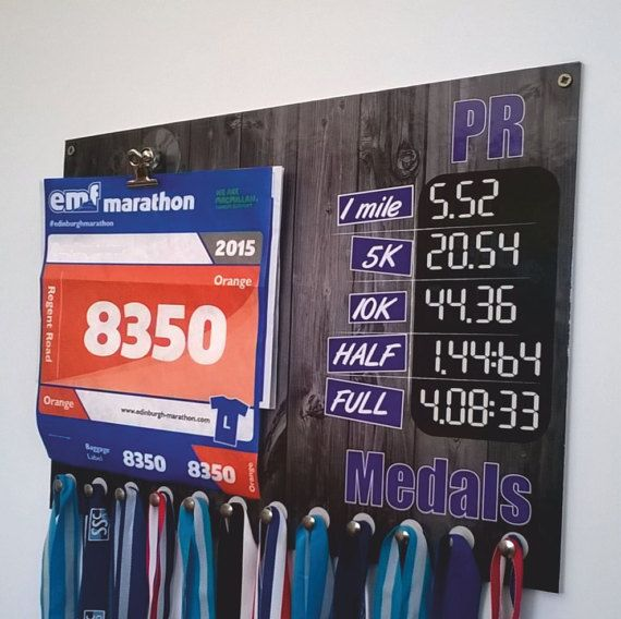A Easy solution for your all your running medals race numbers and PB records  Laminated Dry wipe board supplied with clips for your race numbers