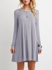 Casual Grey Shift Long Sleeve Dress. Casual grey long sleeve dress. Shift dress to wear out to dinner or wear out to a party!