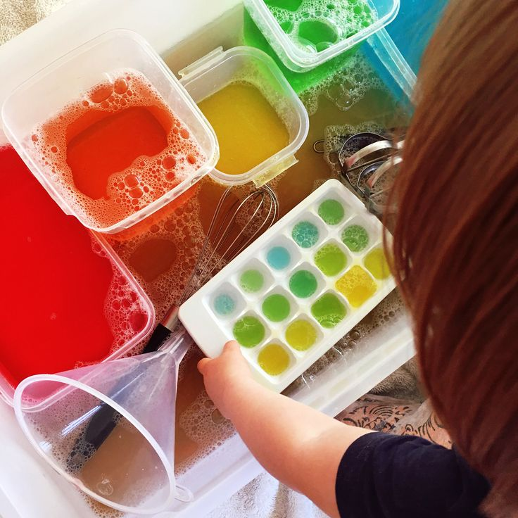 Rainbow water. This is so quick and easy to set up, but so much fun for little people! Simply fill some containers with water and add a few drops of food colouring to each, then present the rainbow water with a range of utensils like spoons, whisks and funnels, for exploring, scooping, pouring and mixing colours. You can also add a little bit of dishwashing liquid for bubbles.