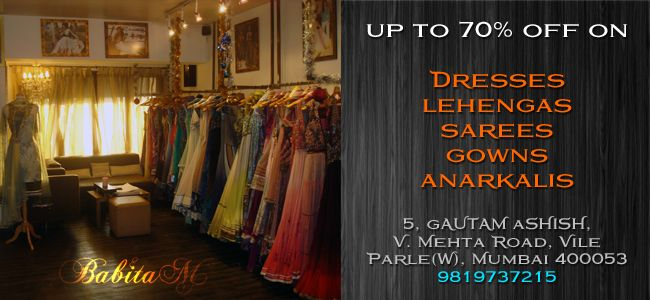 #Lehengas, #Anarkalis, #Sarees, #Gowns are all on #sale. Up to 70% discount on the Babita M collection. http://www.facebook.com/events/399029853548592/