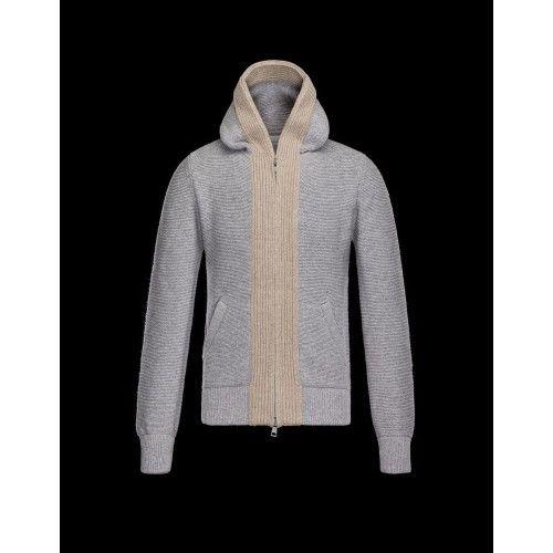 Udsalg Moncler Cardigan Light Grå Sweater Herre Vinter Jakker udsalg Moncler Sweater Herre