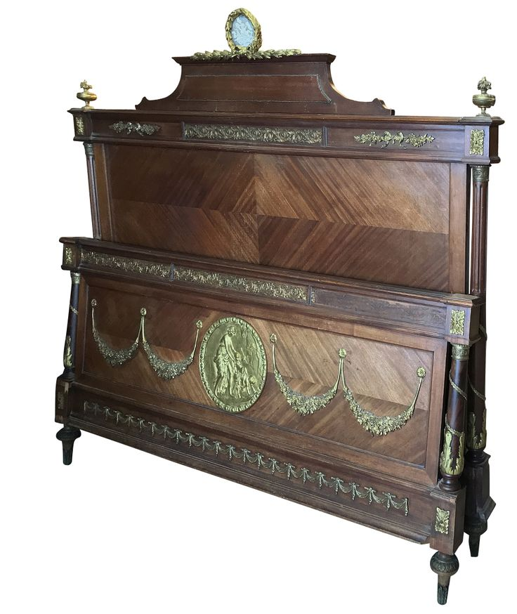 Major Furniture Stores: 19th Century French Louis XVI Queen Bed With Ormolu Mounts