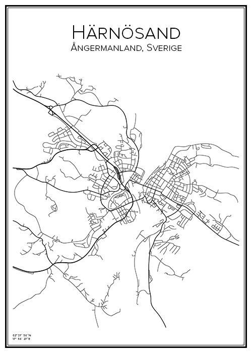 Handritad affisch över Härnösand i Västernorrlands län. Här kan du beställa stadskarta över din stad och andra svenska samt utländska städer.