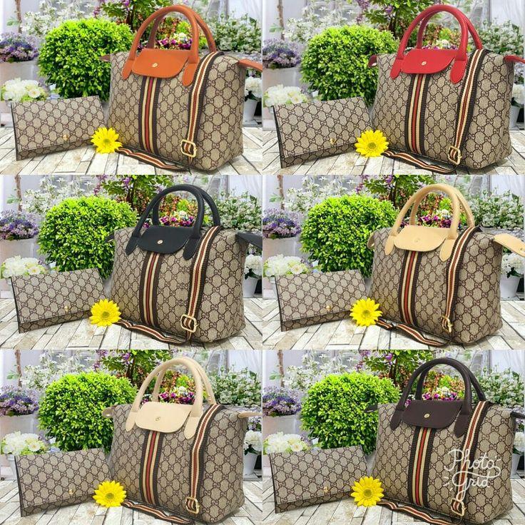 GUCCI Bagfose 2in1 Seri :  6039 Material : Leather Waterproof  Quality : Semi Premium Ukuran :  30×13×20  Dompet : 20×12  Berat : 2pcs 1,2kg Harga: Rp.240.000