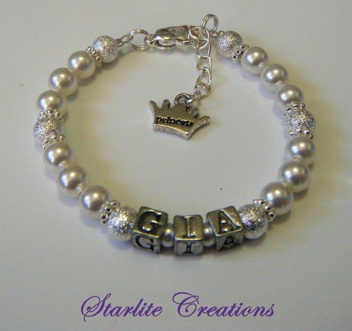 """GIA"" Name bracelet with Swarovski White Pearls and Silver Stardust Beads ""princess"" Charm dangle"