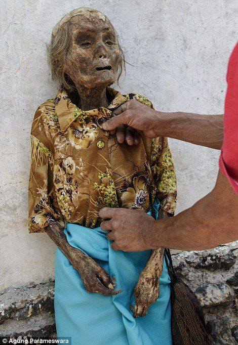 Indonesia's Ma'nene 'Cleaning of the Corpses' festival skeletons are dug up and dressed up | Daily Mail Online