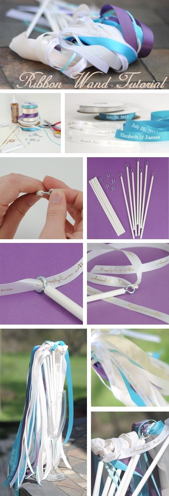 How to Make Personalized Ribbon Wands - A great DIY tutorial for creating ribbon wands!  Use ribbon wands as the perfect send-off for your wedding reception.  #weddingsendoff #diy #diywedding #mwri - Click here for full step-by-step instructions:  http://blog.myweddingreceptionideas.com/2012/03/how-to-make-personalized-ribbon-wands.html