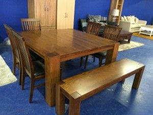 Bethony 5ft sq walnut table 5 chairs + 1 bench €799